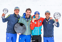 26.03.2017, Planica, Ratece, SLO, FIS Weltcup Ski Sprung, Planica, Siegerehrung, im Bild Dominik Kögler, Manager Patrick Murnig, Gesamtweltcup- und Skiflug Weltcup Sieger Stefan Kraft (AUT), Max Obergruber // Dominik Kögler Manager Patrick Murnig Overall World Cup and Ski Flying World Cup winner Stefan Kraft of Austria Max Obergruber during the Winner Award Ceremony of the FIS Ski Jumping World Cup Final 2017 at Planica in Ratece, Slovenia on 2017/03/26. EXPA Pictures © 2017, PhotoCredit: EXPA/ JFK