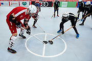 Graz, Austria - 2017 March 23: (L) Tomasz Goworowski from SO Poland competes with SO St. Lucia in Third Place Floor Hockey Match while Special Olympics World Winter Games Austria 2017 at Convention Centre Messe Graz on March 23, 2017 in Graz, Austria.<br /> <br /> Mandatory credit:<br /> Photo by &copy; Adam Nurkiewicz / Mediasport<br /> <br /> Adam Nurkiewicz declares that he has no rights to the image of people at the photographs of his authorship.<br /> <br /> Picture also available in RAW (NEF) or TIFF format on special request.<br /> <br /> Any editorial, commercial or promotional use requires written permission from the author of image.<br /> <br /> Image can be used in the press when the method of use and the signature does not hurt people on the picture.