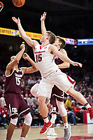 FAYETTEVILLE, AR - FEBRUARY 17:  Jonathan Holmes #15 of the Arkansas Razorbacks drives to the basket during a game against the Texas A&M Aggies at Bud Walton Arena on February 17, 2018 in Fayetteville, Arkansas.  The Razorbacks defeated the Aggies 94-75.(Photo by Wesley Hitt/Getty Images) *** Local Caption *** Jonathan Holmes