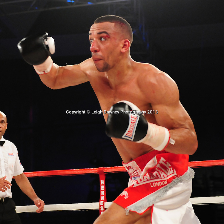 Tyan Booth (pictured) during his Middleweight contest against Chris Eubank Jnr at Glow, Bluewater, Dartford, Kent, UK on 8th June 2013. Promoter: Hennessy Sports. Mandatory Credit: © Leigh Dawney