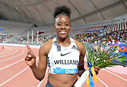 Danielle Williams (JAM) poses after winning the women's 100m hurdles in 12.66 during the IAAF Doha Diamond League 2019 at Khalifa International Stadium, Friday, May 3, 2019, in Doha, Qatar
