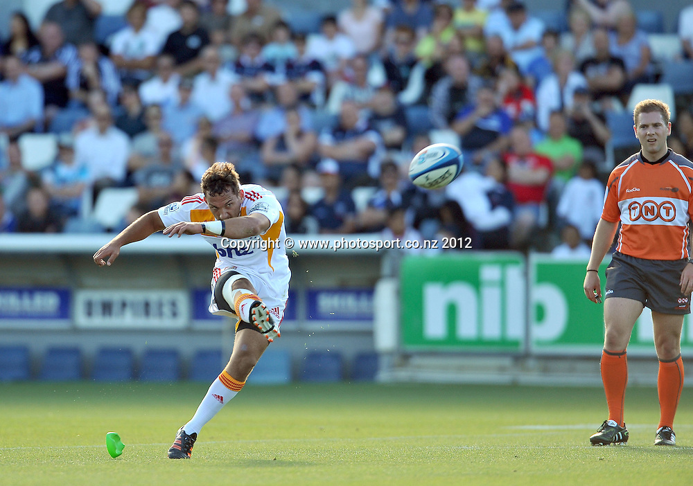 Aaron Cruden (Chiefs)<br /> Rebels vs Chiefs<br /> Rugby Union - 2012 Super Rugby<br /> Simonds Stadium, Geelong<br /> Friday 3 February 2012<br /> &copy; Sport the library / Jeff Crow