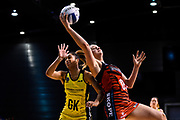 Ellie Bird of the Tactix takes a ball from Phoenix Karaka of the Central Pulse during the ANZ Netball Premiership match, Tactix v Pulse, Horncastle Arena, Christchurch, New Zealand, 15th May 2017.Copyright photo: John Davidson / www.photosport.nz