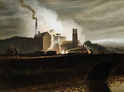 Industrial landscape. Ironworks at night, blast furnace in centre. Wales.  Artist, Penry Williams (1798-1885) Private collection