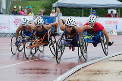 06/08/2017; Dederick, Hannah, T54, USA, Mussinelli, Licia, SUI, Floch, Elizabeth, Farrell, Abby at 2017 World Para Athletics Junior Championships, Nottwil, Switzerland