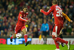 LIVERPOOL, ENGLAND - Wednesday, December 15, 2010: Liverpool's Ryan Babel in action against FC Utrecht during the UEFA Europa League Group K match at Anfield. (Photo by: David Rawcliffe/Propaganda)