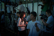 Tokyo - August 25th 2009 -  Recording during the speech of Yukio Hatoyama at Otsuka train station. M. Hatoyama is the president of Democratic Party of Japan (DPJ) and favorite for the seat of Prime Minister after the next general election.