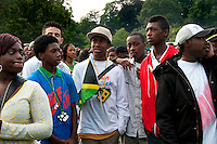 Group of Afro Caribbean youths at West Indian Jamaican family day at Crystal Palace Park South London