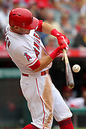 May 20, 2018 - Anaheim, CA, U.S. - ANAHEIM, CA - MAY 20: Ian Kinsler (3) of the Angels breaks his bat on the swing during the major league baseball game between the Tampa Bay Rays and the Los Angeles Angels on May 20, 2018 at Angel Stadium of Anaheim in Anaheim, California. (Photo by Cliff Welch/Icon Sportswire) (Credit Image: © Cliff Welch/Icon SMI via ZUMA Press)