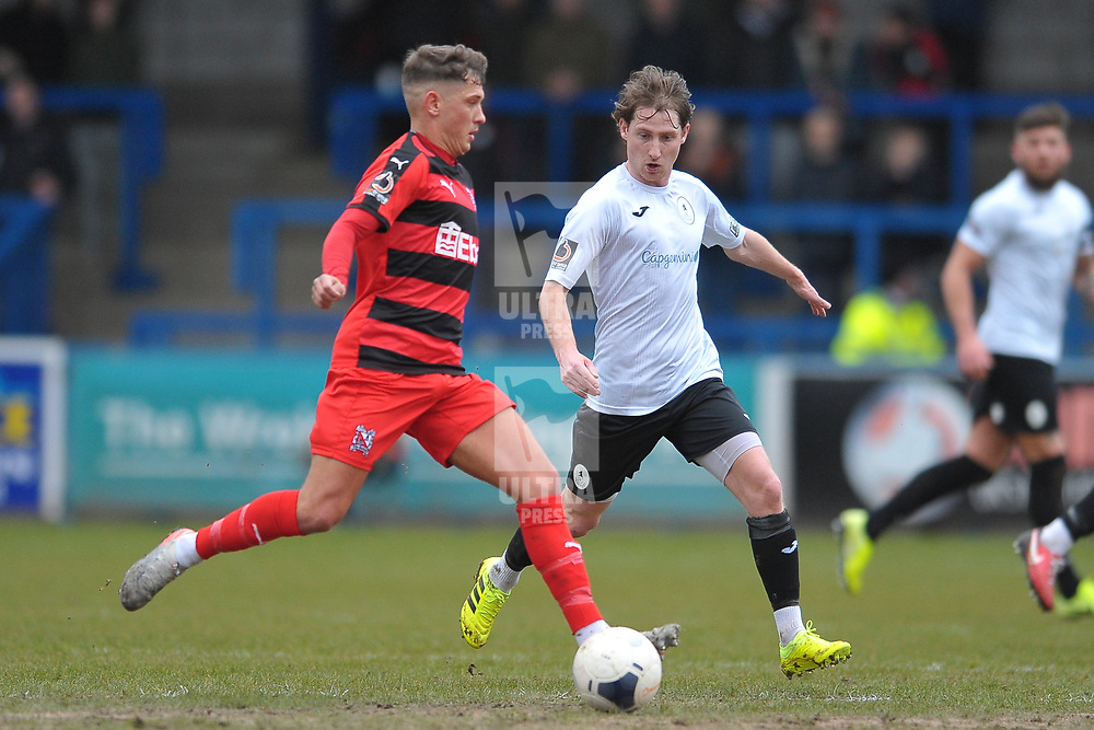 TELFORD COPYRIGHT MIKE SHERIDAN James McQuilkin of Telford during the Vanarama Conference North fixture between AFC Telford United and Darlington at The New Bucks Head on Saturday, March 7, 2020.<br /> <br /> Picture credit: Mike Sheridan/Ultrapress<br /> <br /> MS201920-049