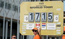 17-07-2014 NED: FIVB Grand Slam Beach Volleybal, Apeldoorn<br /> Poule fase groep A mannen - Reinder Nummerdor (1), Steven van de Velde (2) NED, Chaim Schalk (1), Ben Saxton (2) CAN / boarding scorebord, teller, item