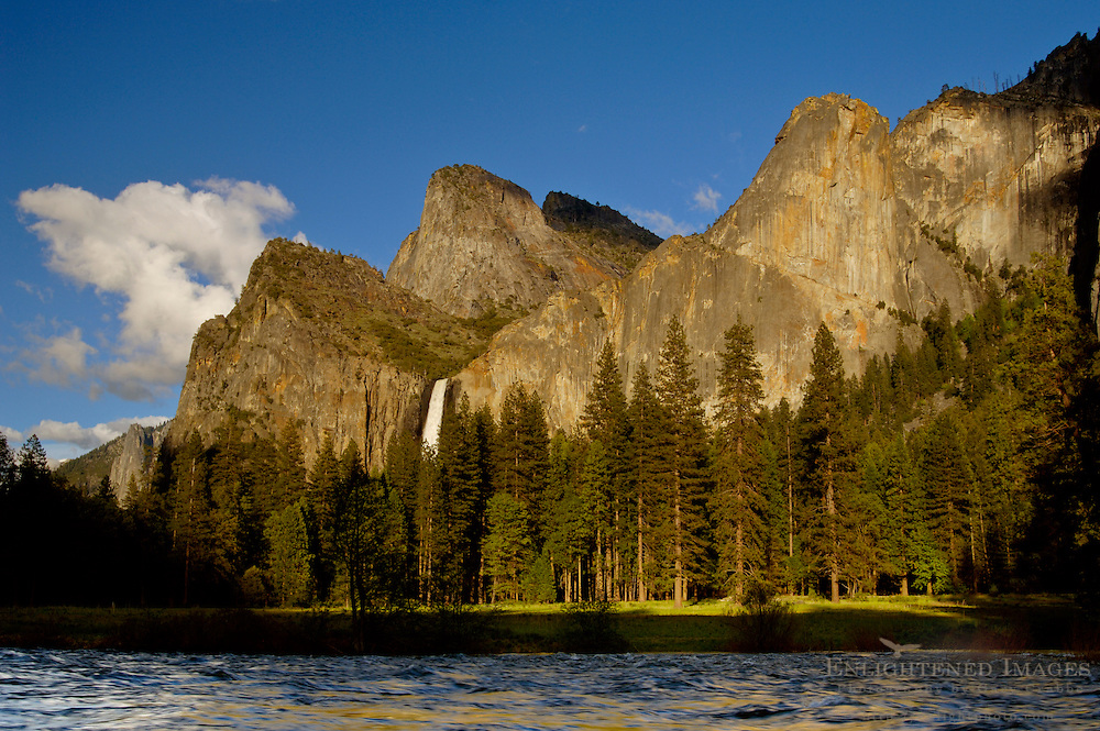 Sunset light on Bridalveil Fall over the Merced River in spring, Yosemite Valley, Yosemite National Park, California
