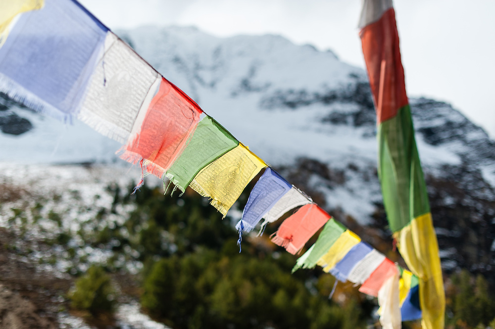 Buddhist flags in the Himalayas (Nepal)