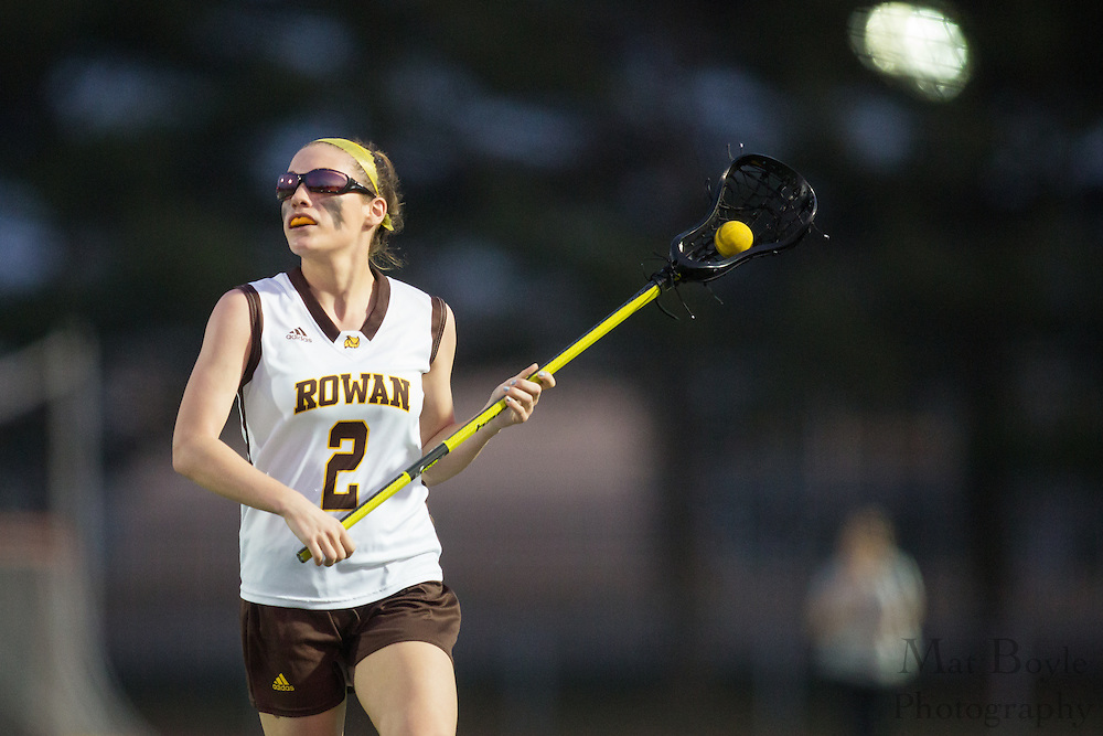 Rowan University Sophomore  Becca Wood (2) - Drew University Women's Lacrosse at Rowan University at Richard Wacker Stadium  in Glassboro, NJ on Tuesday April 9, 2013. (photo / Mat Boyle)
