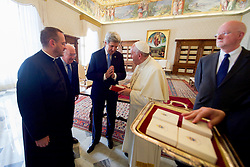 December 2, 2016 - Rome, Italy - U.S Secretary of State John Kerry and U.S. Ambassador to the Holy See Kenneth Hackett thank Pope Francis following their meeting at the Vatican December 2, 2016 in Rome, Italy. (Credit Image: © Us State Department/Planet Pix via ZUMA Wire)