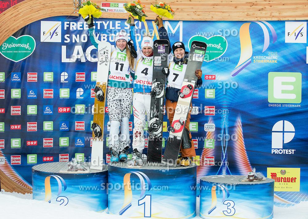 Alena Zavarzina of Russia placed second, Claudia Riegler of Austria placed first and Tomoka Takeuchi of Japan placed third  during the Men's Parallel Giant Slalom at FIS World Championships of Snowboard and Freestyle 2015, on January 23, 2015 at the WM Piste in Lachtal, Austria. Photo by Vid Ponikvar / Sportida