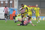 Manny Duku and Aaron Martin during the EFL Sky Bet League 2 match between Exeter City and Cheltenham Town at St James' Park, Exeter, England on 22 September 2018.