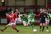 Forest Green Rovers Lee Collins(5) is brought down by Crewe Alexandra's Harry Pickering(18) during the EFL Sky Bet League 2 match between Crewe Alexandra and Forest Green Rovers at Alexandra Stadium, Crewe, England on 20 March 2018. Picture by Shane Healey.