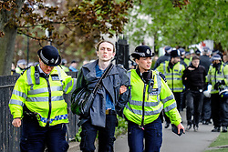 An anti-fascist arrested during a protest against a march held by the English Defence League. Walthamstow London May 2015