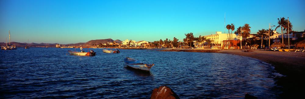 Panoramic view of Bahia La Paz, the beach and Malecon, La Paz, Baja California Sur, Mexico, sunset