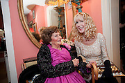 JACQUELINE LADY KILLEARN; BASIA BRIGGS, Jacqueline, Lady Killearn celebrated 101st birthday in her house in harley st. London. 13 January 2010. -DO NOT ARCHIVE-© Copyright Photograph by Dafydd Jones. 248 Clapham Rd. London SW9 0PZ. Tel 0207 820 0771. www.dafjones.com.