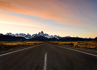 NATIONAL PARK LOS GLACIARES, ARGENTINA - CIRCA FEBRUARY 2019: Route in Patagonia nearby El Chalten in National Park los Glaciares in Argentina.