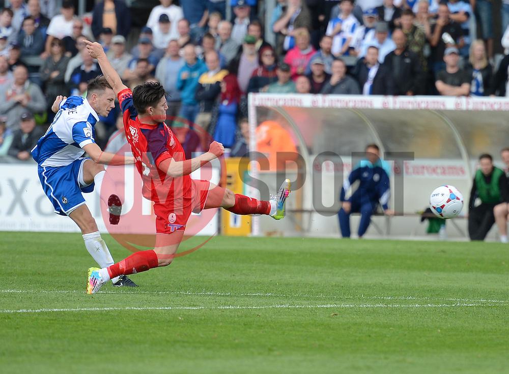 Bristol Rover's Oille Clarke shoots at goal - Photo mandatory by-line: Alex James/JMP - Mobile: 07966 386802 23/08/2014 - SPORT - FOOTBALL - Bristol - Memorial Stadium - Bristol Rovers v AFC Telford - Vanarama Football Conference