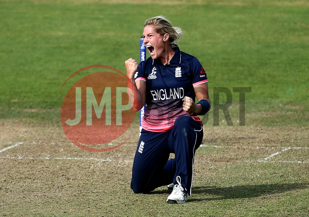 Katherine Brunt of England Women celebrates taking the wicket of Ellyse Perry of Australia Women - Mandatory by-line: Robbie Stephenson/JMP - 09/07/2017 - CRICKET - Bristol County Ground - Bristol, United Kingdom - England v Australia - ICC Women's World Cup match 19