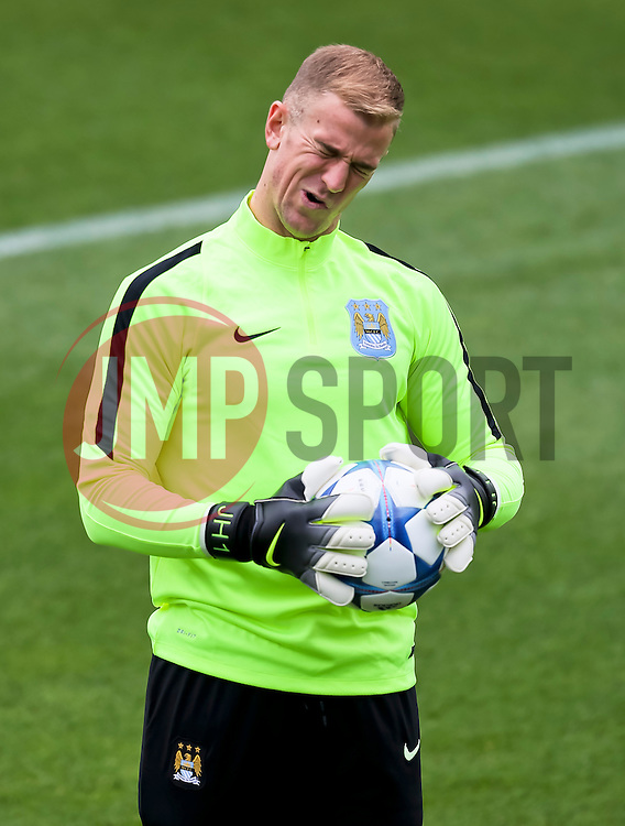 Joe Hart of Manchester City during the training session at the Etihad Stadium ahead of the UEFA Champions League group D match against Juventus - Mandatory byline: Matt McNulty/JMP - 07966386802 - 14/09/2015 - FOOTBALL - Etihad Stadium -Manchester,England - UEFA Champions League
