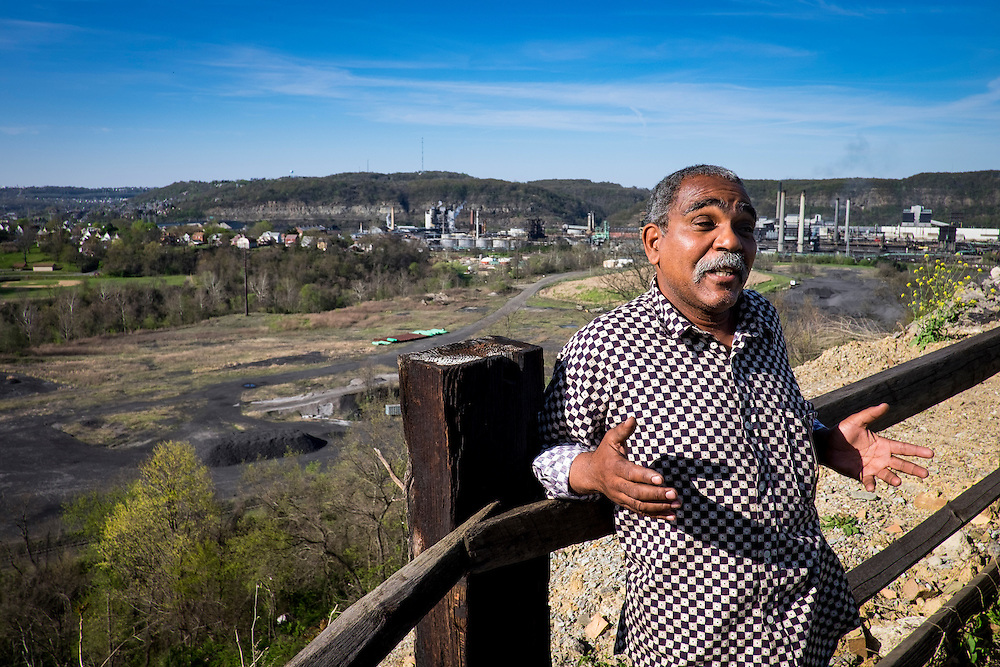 "Donald ""Amzi"" Lightner, 63, on his property overlooking the Clairton Coke Works in Clairton, Pa."