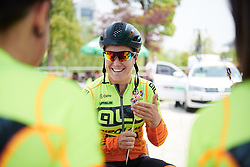 Chloe Hosking (AUS) admires the end of race gift from the team liaison at Tour of Chongming Island 2018 - Stage 3, a 126.5 km road race on Chongming Island on April 28, 2018. Photo by Sean Robinson/Velofocus.com