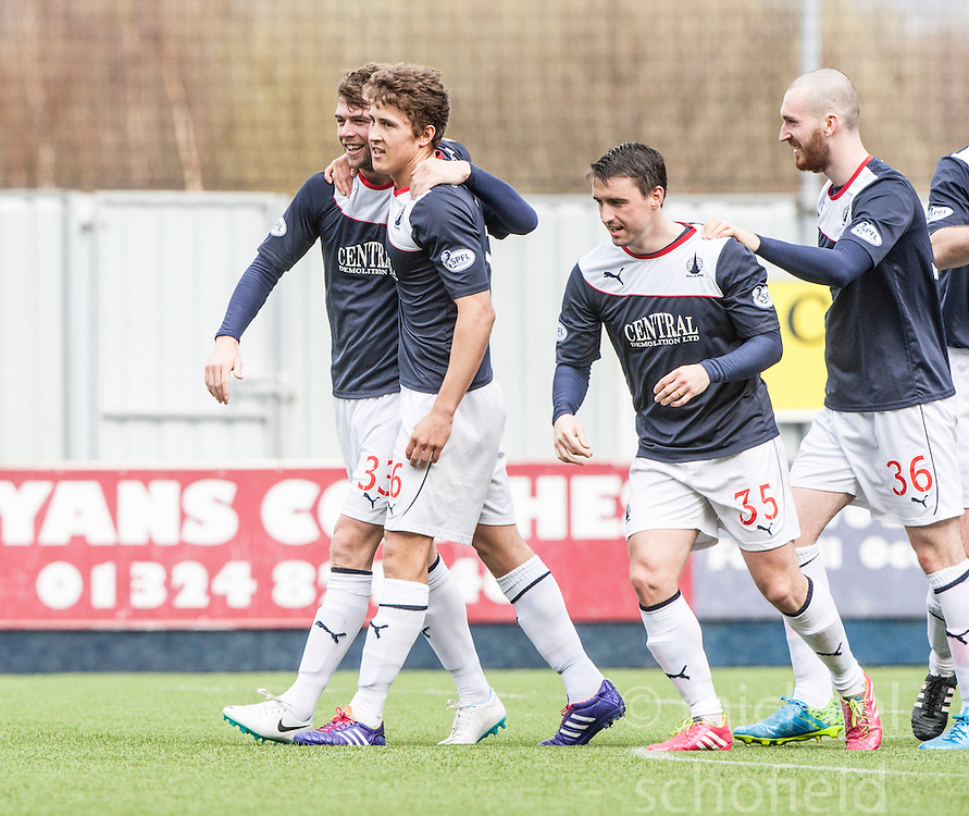Falkirk's Rory Loy celebrates after scoring their fifth goal.<br /> half time : Falkirk v Cowdenbeath, Scottish Championship game played today at The Falkirk Stadium.<br /> &copy; Michael Schofield.