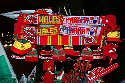 CARDIFF, WALES - Tuesday, November 14, 2017: A stall selling match day souvenirs outside the Stadium before the international friendly match between Wales and Panama at the Cardiff City Stadium. (Pic by Peter Powell/Propaganda)