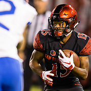 12 October 2018: San Diego State Aztecs running back Jordan Byrd (15) rushes the ball for a short gain in the second quarter. The San Diego State Aztecs lead 14-9 at the half against the Air Force Falcons at SDCCU Stadium Friday night.