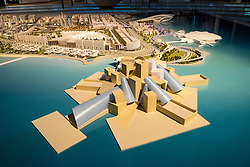 View of master plan with new museums (Guggenheim foreground) for Saadiyat Island in Abu Dhabi United Arab Emirates