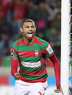 Maritimo´s player Raul Silva  celebrate after scoring a goal during the Portuguese First League football match Maritimo vs Sporting held at Barreiros Stadium, Funchal, Portugal, 21 January, 2017.  EPA / GREGÓRIO CUNHA