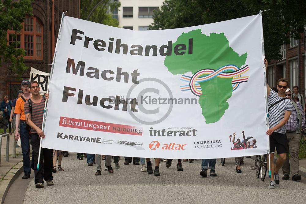 Hamburg, Germany - 07.07.2017<br /> <br /> attac protest march aganist the G20 summit in Hamburg<br /> <br /> Attac Demonstration gegen den G20-Gipfel in Hamburg.<br /> <br /> Photo: Bjoern Kietzmann