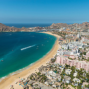 Aerial view of Medano beach and Cabo San Lucas Bay.