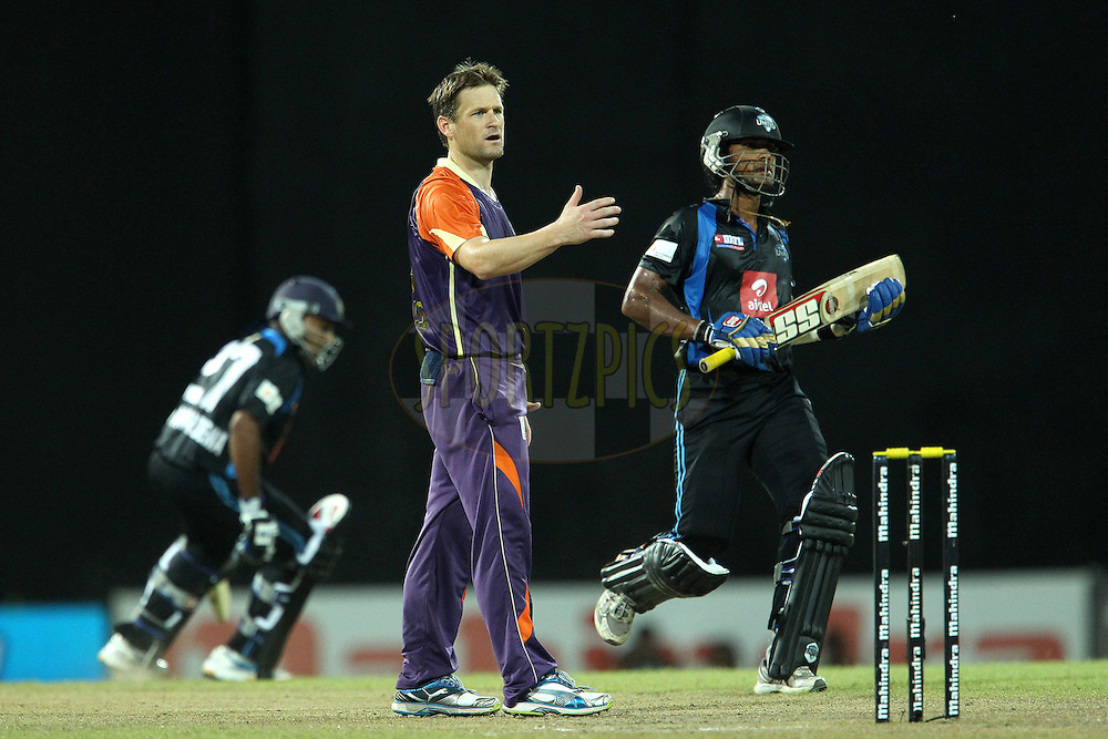 DanielHarris reacts after being knocked for four during match 20 of the Sri Lankan Premier League between Ruhuna Royals and Wayamba United held at the Premadasa Stadium in Colombo, Sri Lanka on the 26th August 2012. .Photo by Ron Gaunt/SPORTZPICS/SLPL