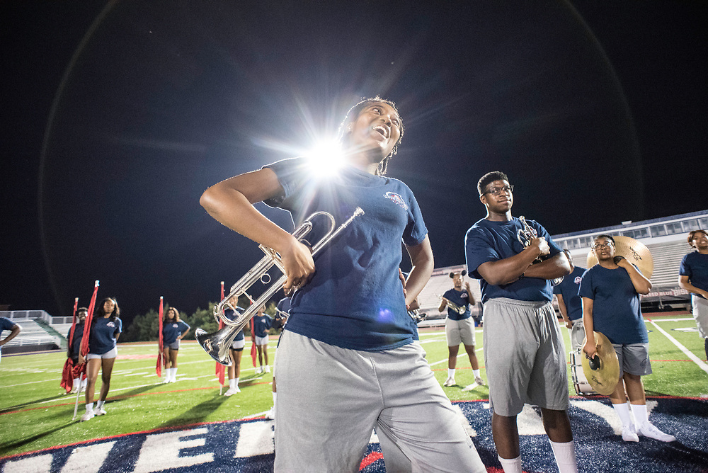 WASHINGTON,DC - October 5, 2017: Jalissa Douglas, the trumpet section leader, speaks to the rest of her band towards the end of practice. Christian Adkins, also on trumpet, stands by.<br /> Howard University's Showtime Marching Band is part of a long tradition of outstanding bands at HBCU's. The band practices in the days leading up to a home game against North Carolina Central. (Andr&eacute; Chung for The Undefeated)