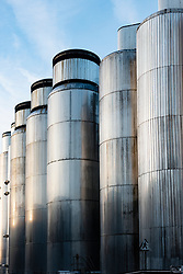 Large storage and fermentation tanks at Tennent Caledonian Breweries  Wellpark Brewery in Glasgow, Scotland, UK *Editorial Use Only*