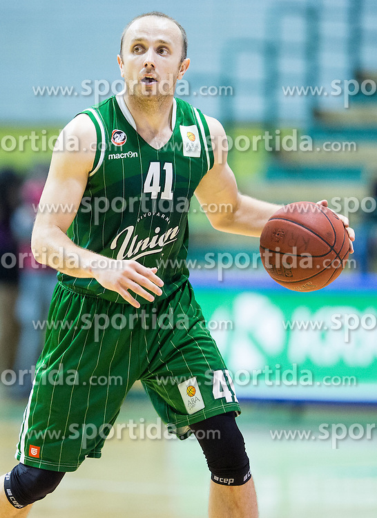 Marko Marinovic #41 of KK Union Olimpija during basketball match between KK Krka and KK Union Olimpija in Round #7 of Telemach League for Slovenian National Champion 2014/15 on April 18, 2015 in Dvorana Leona Stuklja, Novo mesto, Slovenia. Photo by Vid Ponikvar / Sportida