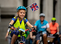 Riders cycle through the City of London. Prudential RideLondon FreeCycle. Saturday 28th July 2018<br /> <br /> Photo: Thomas Lovelock for Prudential RideLondon<br /> <br /> Prudential RideLondon is the world's greatest festival of cycling, involving 100,000+ cyclists - from Olympic champions to a free family fun ride - riding in events over closed roads in London and Surrey over the weekend of 28th and 29th July 2018<br /> <br /> See www.PrudentialRideLondon.co.uk for more.<br /> <br /> For further information: media@londonmarathonevents.co.uk