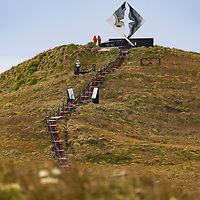A wooden walkway leads to the Cape Horn Monument, which is designed to look like an albatross in flight. Cape Horn (Cabo de Hornos) is the southernmost headland of the Tierra del Fuego archipelago and it marks the northern boundary of the Drake Passage and where the Atlantic and Pacific Oceans meet.