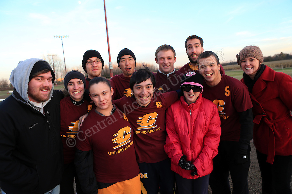 """Unified Soccer Championships a First -- The CMU Intramural Unified Soccer league championship Wednesday brought together four teams of CMU students and Special Olympics athletes. The six-week league was a collaboration between CMU University Recreation, Special Olympics Michigan and the Registered Student Organization """"SO College"""", which is dedicated to volunteering with Special Olympics. Unified Sports are designed to promote inclusion and acceptance through sports. — at Central Michigan University.  Central Michigan University photo by Steve Jessmore"""