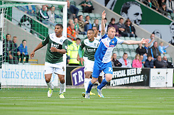 Bristol Rovers' David Clarkson protests for hand ball inside the penalty area  - Photo mandatory by-line: Dougie Allward/JMP - Tel: Mobile: 07966 386802 07/09/2013 - SPORT - FOOTBALL -  Home Park - Plymouth - Plymouth Argyle V Bristol Rovers - Sky Bet League Two