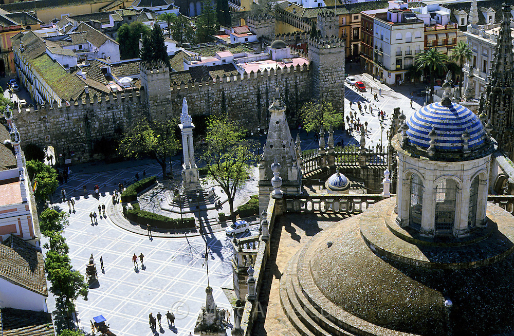 View of Seville from the Giralda bell tower & Cathedral, Spain