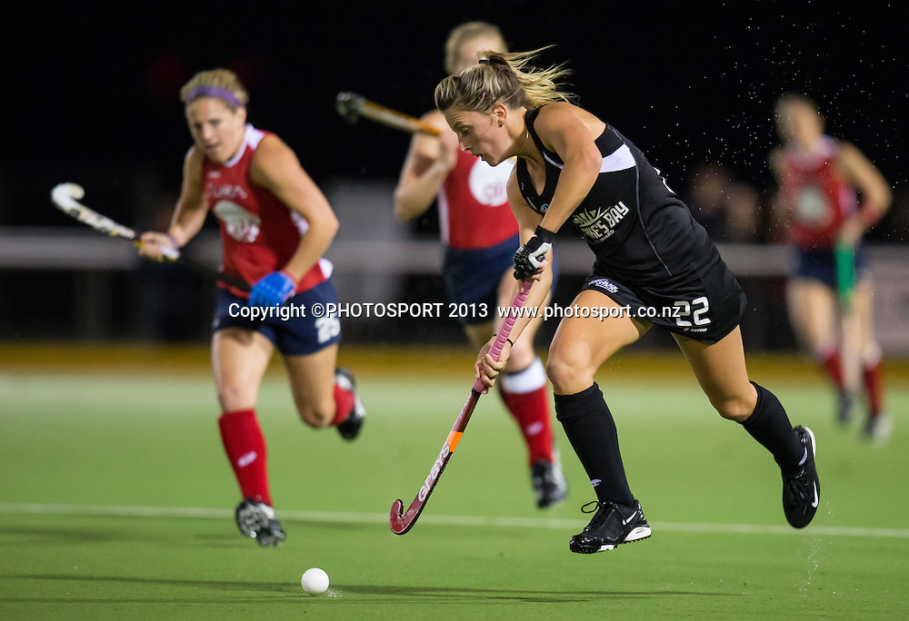 during the four nations hockey match between New Zealand Black Sticks Women and USA, won by NZ 1-0 at Gallagher Hockey Centre, Hamilton, New Zealand, 18 April 2013.  Photo: Stephen Barker/photosport.co.nz