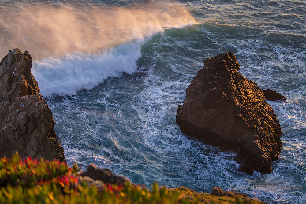 Ocean waves and spray breaking by offshore rocks at Point Reyes National Seashore, Marin County, California
