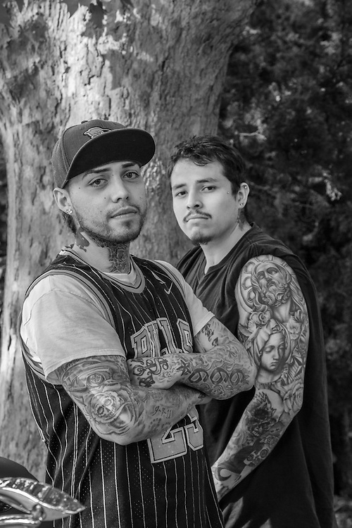 "Jose Vega and Manny Avina near their homes in Calistoga.  ""We grew up together...we both like working in kitchens...we like the fast pace."""